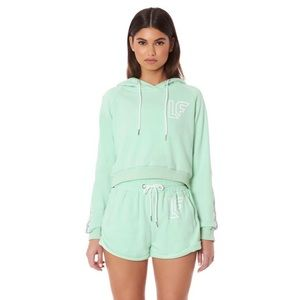 Mint Green LF The Brand Tracker Cropped Hoodie M